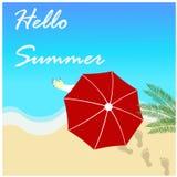 Здравствуйте! дизайн вектора пляжа лета Стоковая Фотография RF