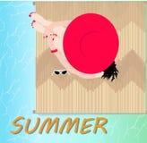 Здравствуйте! дизайн вектора пляжа лета Стоковое Фото