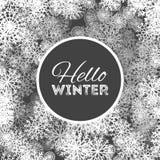 Здравствуйте! дизайн предпосылки зимы абстрактный с снежинками и снегом иллюстрация штока