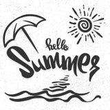 Здравствуйте! литерность лета нарисованная рукой на белой предпосылке для вашего дизайна Иллюстрация штока