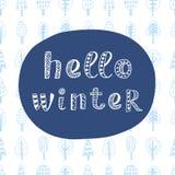 Здравствуйте! литерность зимы современная в этническом скандинавском стиле Стоковое Изображение