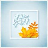 Здравствуйте! литерность осени нарисованная рукой Стоковые Изображения RF