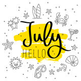 Здравствуйте! июль Модная каллиграфия Стоковая Фотография