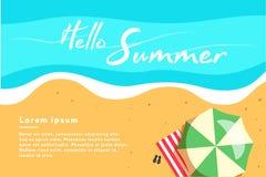 Здравствуйте! иллюстрация вектора концепции лета Взгляд сверху пляжа сеть универсалии шаблона плаката страницы приветствию карточ Стоковые Фотографии RF