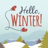 Здравствуйте! иллюстрация шаржа зимы Стоковые Изображения