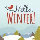 Здравствуйте! иллюстрация шаржа зимы Стоковая Фотография