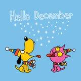 Здравствуйте! карточка в декабре с милым щенком и котенком бесплатная иллюстрация