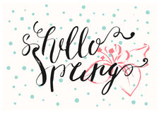 Здравствуйте! карточка писем весны нарисованная рукой Стоковая Фотография