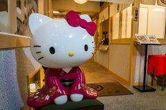 Здравствуйте! киска в кимоно, традиционном японском стиле Стоковая Фотография RF