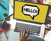Здравствуйте! концепция графика технологии пузыря речи Стоковые Фото