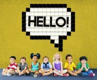 Здравствуйте! концепция графика технологии пузыря речи стоковое фото