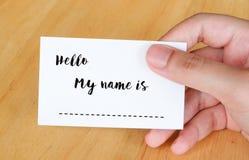 Здравствуйте! мое имя слова на предпосылке карточки имени Стоковые Изображения RF