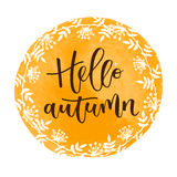 Здравствуйте! надпись осени написанная рукой Стоковое Изображение