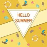 Здравствуйте! перемещение лета Каллиграфия тенденции Концепция летнего времени Стоковые Фотографии RF
