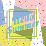 Здравствуйте! перемещение лета Каллиграфия тенденции Концепция летнего времени Стоковые Фото