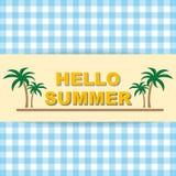 Здравствуйте! перемещение лета Каллиграфия тенденции Концепция летнего времени Стоковое Изображение