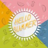 Здравствуйте! перемещение лета Каллиграфия тенденции Концепция летнего времени Стоковое Фото