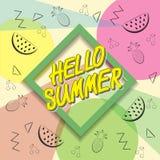 Здравствуйте! перемещение лета Каллиграфия тенденции Концепция летнего времени Стоковая Фотография