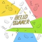 Здравствуйте! перемещение лета Каллиграфия тенденции Концепция летнего времени Стоковое Изображение RF