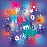 Здравствуйте! поздравительная открытка в декабре иллюстрация штока