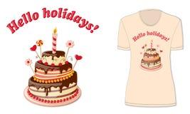 Здравствуйте! праздники с модель-макетом ` s футболки Стоковые Изображения RF