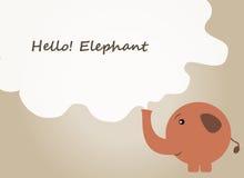 Здравствуйте! предпосылка слона, цитата текста слона, вектор слона Стоковые Фотографии RF