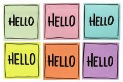 Здравствуйте! приветствие - комплект липких примечаний Стоковая Фотография RF