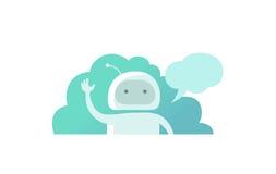 Здравствуйте! робот программиста мира, развевая его рука и говорить Стоковая Фотография RF