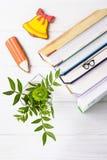 Здравствуйте!, сентябрь Книги, стекла закладки, карандаш пряника и желтый колокол, зеленая хризантема на белой предпосылке Стоковое Фото