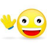Здравствуйте! смайлик Смайлик развевает его рука Радостный смайлик Довольное emoji взволнованность счастливая Значок улыбки иллюс иллюстрация штока