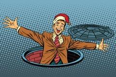 Здравствуйте! сюрприз рождества бизнесмена бесплатная иллюстрация