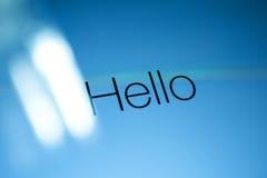 Здравствуйте! слово на экране компьютера Стоковая Фотография RF