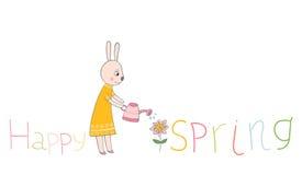 Здравствуйте! текст весны с зайчиком, цветком и моча чонсервной банкой Бесплатная Иллюстрация