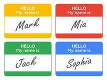 здравствулте! мое имя Установленные карточки, ярлыки и значки введения Стоковая Фотография