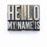 здравствулте! мое имя Стоковое Изображение