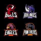 Злющий комплект концепции логотипа вектора спорта носорога, быка, орла и пантеры изолированный на темной предпосылке Стоковые Фото