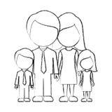 диаграмма семья с их значком детей Стоковое Фото