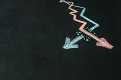 2 диаграммы нарисованы на классн классном с мелом Стоковое Изображение