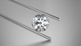 диамант крупного плана иллюстрации 3D в щипчиках Стоковые Фото