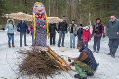 Иваново, Россия, 22-ое февраля 2015 На празднике Maslenitsa Стоковая Фотография