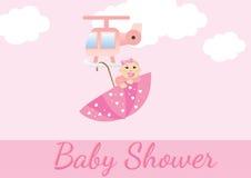 ливень девушок карточки младенца Стоковое Изображение