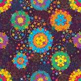 Играйте главные роли линия картина мандалы симметрии стиля фиолетовая безшовная Стоковое фото RF