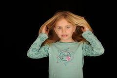 играть волос девушки Стоковая Фотография RF
