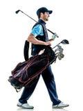 Играть в гольф игрока в гольф человека изолированный с предпосылкой стоковые фотографии rf