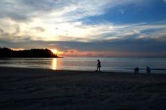 Играть в заходе солнца Стоковая Фотография RF