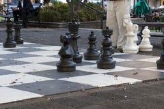 Играть гигантский шахмат в Гайд-парке на после полудня осени стоковые изображения rf