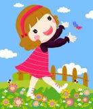 играть девушки бабочки Стоковые Фотографии RF