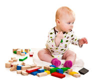 играть девушки кирпичей младенческий Стоковые Изображения RF
