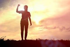Играть женщин силуэта Стоковая Фотография RF