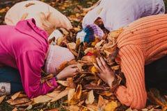 играть листьев девушок Стоковые Изображения RF
